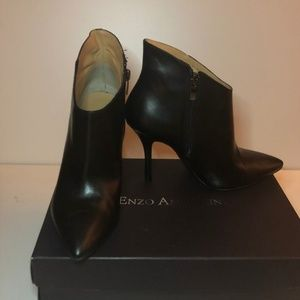 Black Leather Enzo Angiolini Ankle Boots